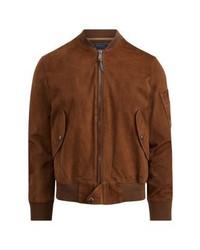 Blouson aviateur en cuir brun Ralph Lauren
