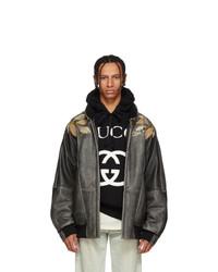 Blouson aviateur en cuir gris foncé Gucci