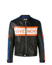 Blouson aviateur en cuir imprimé noir Givenchy