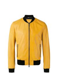 Blouson aviateur en cuir jaune Dolce & Gabbana