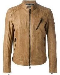 Blouson aviateur en cuir marron clair Belstaff
