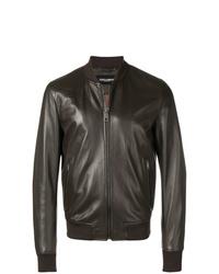 Blouson aviateur en cuir marron foncé Dolce & Gabbana