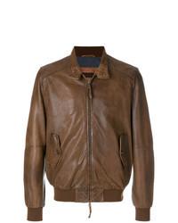 Blouson aviateur en cuir marron