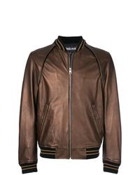 Blouson aviateur en cuir marron Just Cavalli