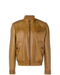 Blouson aviateur en cuir marron Prada
