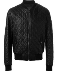 Blouson aviateur en cuir matelassé noir Dolce & Gabbana
