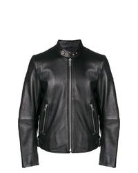 Blouson aviateur en cuir noir Diesel