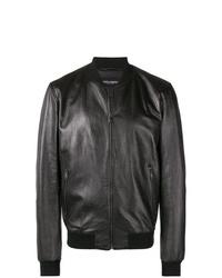Blouson aviateur en cuir noir Dolce & Gabbana