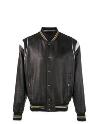 Blouson aviateur en cuir noir Givenchy