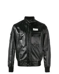 Blouson aviateur en cuir noir Maison Margiela