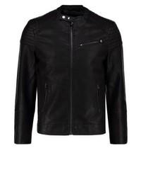 Blouson aviateur en cuir noir New Look
