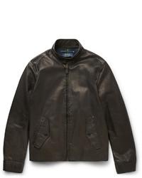 Blouson aviateur en cuir noir Polo Ralph Lauren