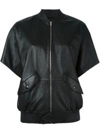Blouson aviateur en cuir noir Saint Laurent