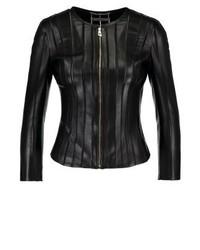 Blouson aviateur en cuir noir Versace