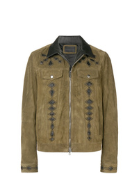 Blouson aviateur en daim marron Diesel Black Gold