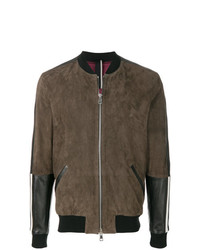 Blouson aviateur en daim marron Low Brand