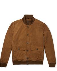 Blouson aviateur en daim marron Polo Ralph Lauren