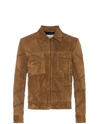 Blouson aviateur en daim marron Saint Laurent