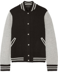 Blouson aviateur en laine à rayures horizontales noir Marc Jacobs
