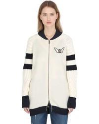 Blouson aviateur en laine blanc