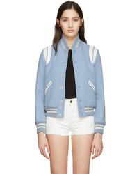 Blouson aviateur en laine bleu clair Saint Laurent