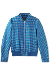 Blouson aviateur en laine bleu