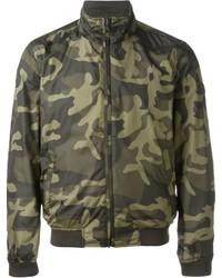 Blouson aviateur en laine camouflage olive Woolrich
