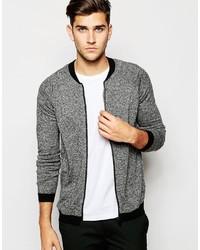 Blouson aviateur en laine en tricot gris Asos