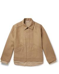 Blouson aviateur en laine marron clair Valentino