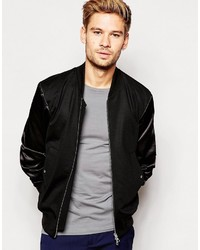 Blouson aviateur en laine noir Paul Smith