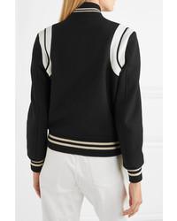 Blouson aviateur en laine noir Saint Laurent