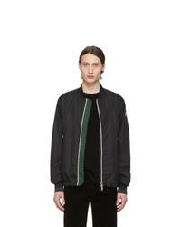 Blouson aviateur en satin en tricot noir Moncler