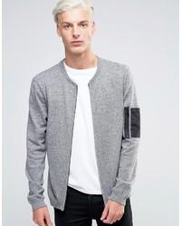 Blouson aviateur en tricot gris Asos