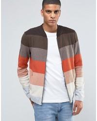 Blouson aviateur en tricot marron Asos