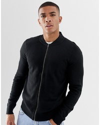 Blouson aviateur en tricot noir French Connection
