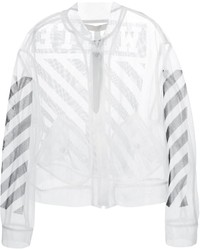 Blouson aviateur en tulle blanc Off-White