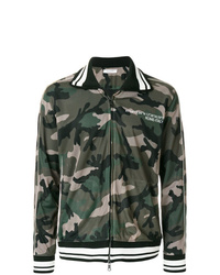 Blouson aviateur en tulle camouflage vert foncé Valentino