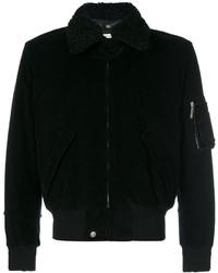 Blouson aviateur en velours côtelé noir Saint Laurent