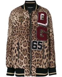 Blouson aviateur imprimé léopard brun Dolce & Gabbana