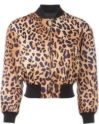Blouson aviateur imprimé léopard marron Dsquared2