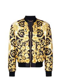Blouson aviateur imprimé noir et doré Versace