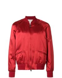 Blouson aviateur orné rouge Valentino
