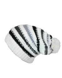Bonnet à rayures horizontales blanc