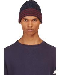 Bonnet à rayures horizontales bleu marine Thom Browne