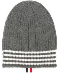 Bonnet à rayures horizontales gris foncé Thom Browne