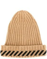 Bonnet à rayures horizontales marron clair Off-White