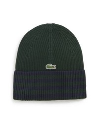 Bonnet à rayures horizontales vert foncé