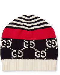 Bonnet blanc et rouge et bleu marine Gucci