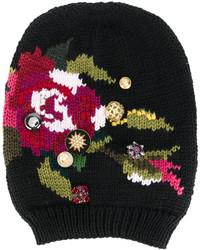 Bonnet brodé noir Dolce & Gabbana