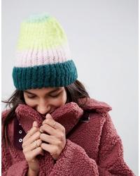 Bonnet duveteux à rayures horizontales multicolore ASOS DESIGN